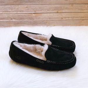 UGG Ansley Black Suede Outdoor/Indoor Slippers